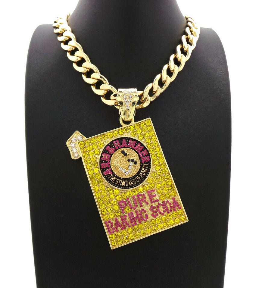 "Men's Pure Baking Soda Pendant & 14K Gold PT 20"" 11mm Miami Cuban Link Chain Necklace"