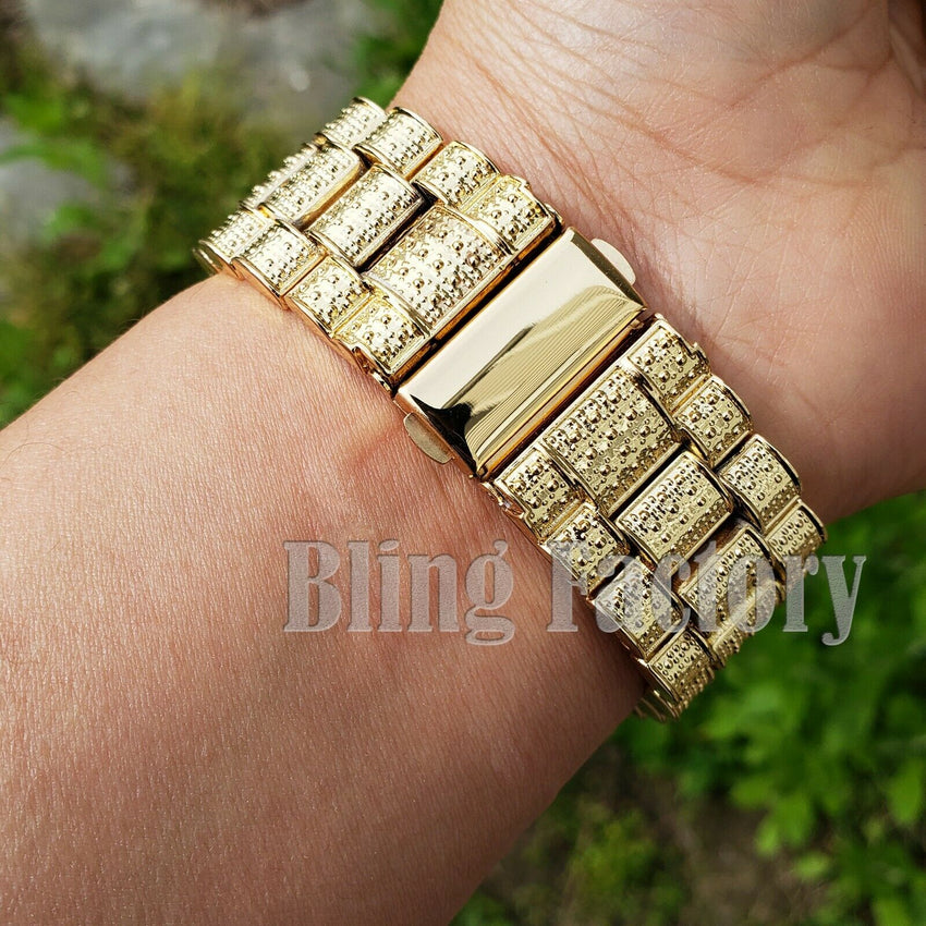 Men's Hip Hop Iced out Blue Dial Gold PT Migos Bling BIG Simulated Diamond Watch