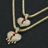 "Gold PT Hip Hop Broken Heart Pendant & 1 Row Lab Diamond 18"" & 24"" Tennis Chain Necklace Set"