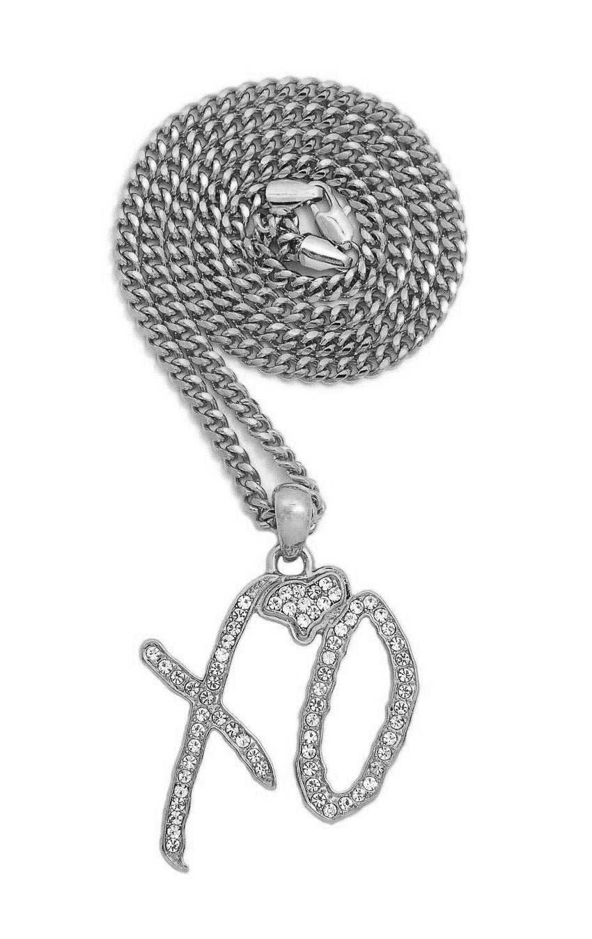 "Hip Hop Iced XO Gang White Gold plated Pendant & 3mm 24"" Stainless Steel Cuban Chain Necklace"