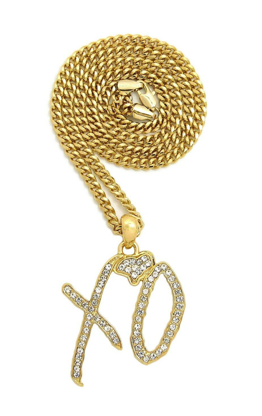 "Hip Hop Iced XO Gang Gold plated Pendant & 3mm 24"" Stainless Steel Cuban Chain Necklace"