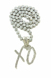 Hip Hop White Gold Plated XO Pendant & Iced 18