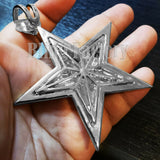 HIP HOP ICED RAPPER STYLE LAB DIAMOND WHITE GOLD PLATED LARGE STAR CHARM PENDANT