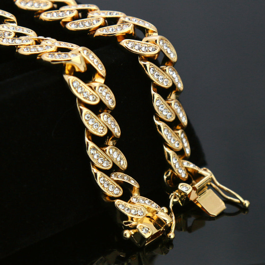 "Hip Hop Gold PT Trident Pendant & 12mm 18"" Full Iced Cuban Choker Chain Necklace"