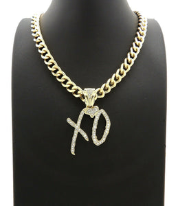 HIP HOP STYLE RAPPER'S GOLD PLATED XO GANG PENDANT & 10mm 18