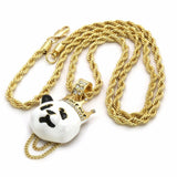 "14K Gold Plated Hip Hop Panda King Pendant & 4mm 24"" Rope Chain Necklace"