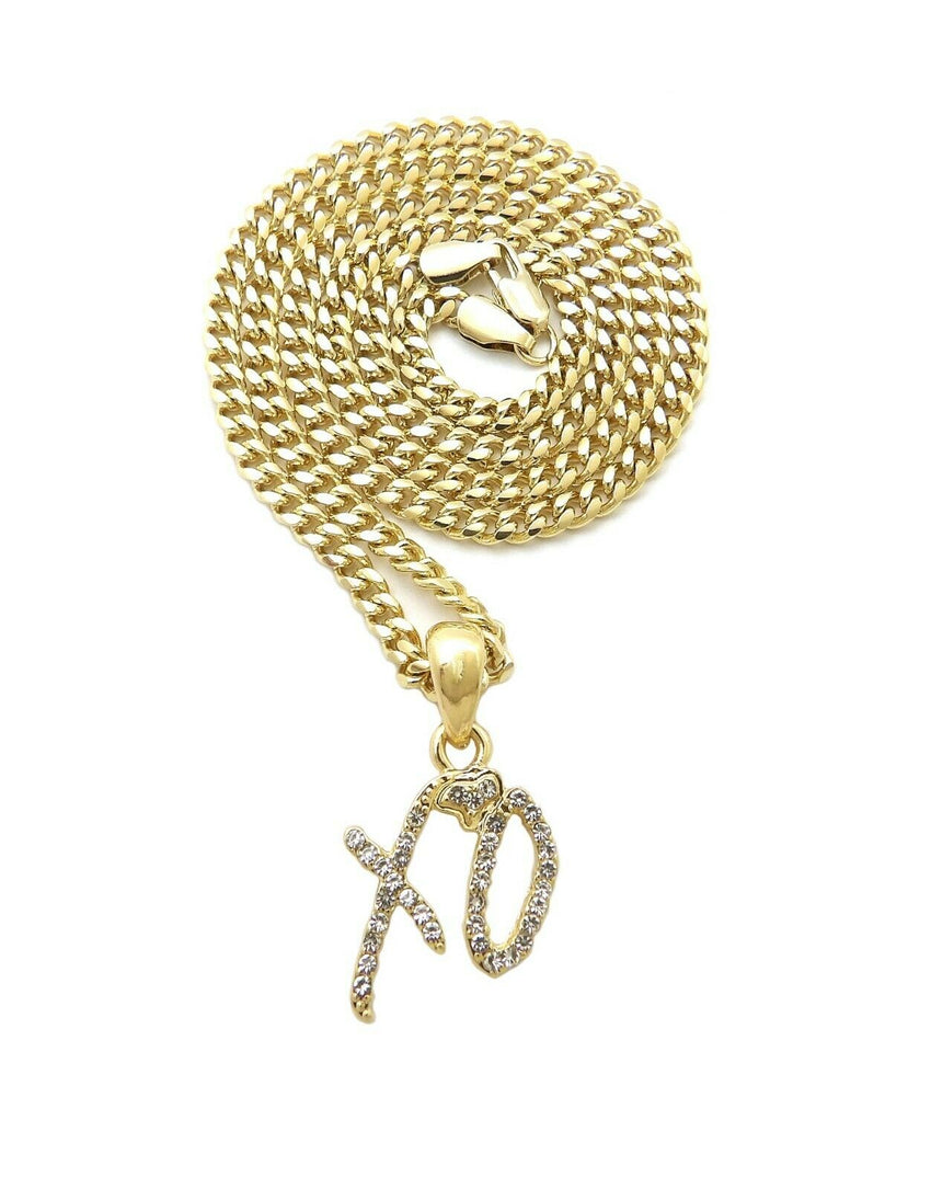 "Hip Hop Iced Mini XO Gang Gold plated Pendant & 3mm 18"" 20"" 24"" Stainless Steel Cuban Chain Necklace"