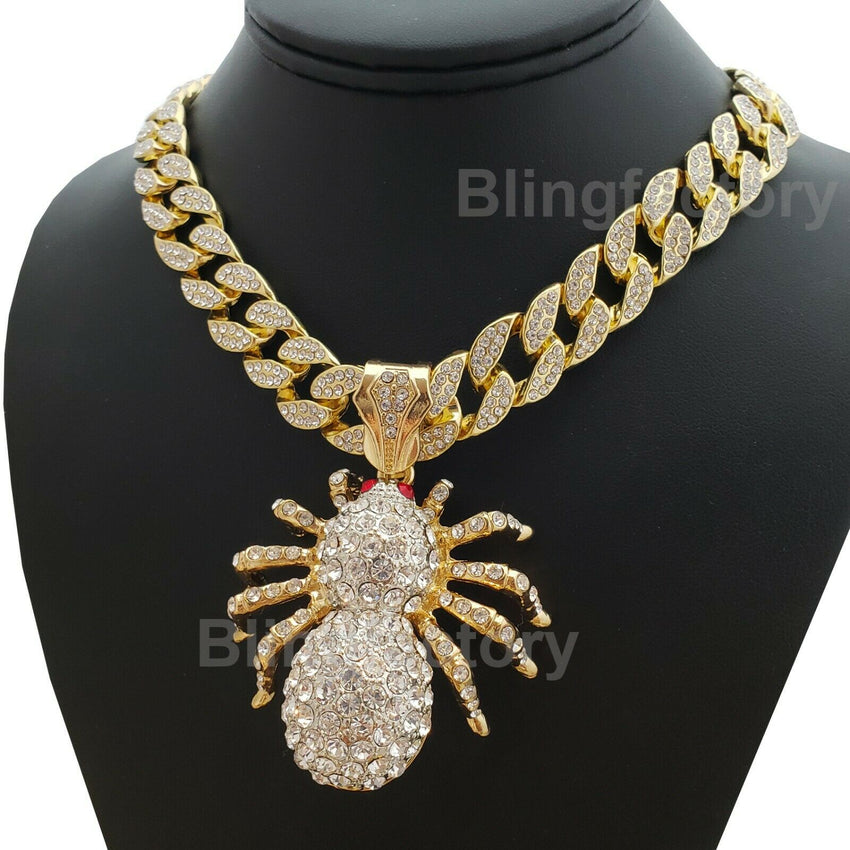 "Hip Hop Large Gold PT Spider Pendant & 18"" Full Iced Cuban Choker Chain Necklace"