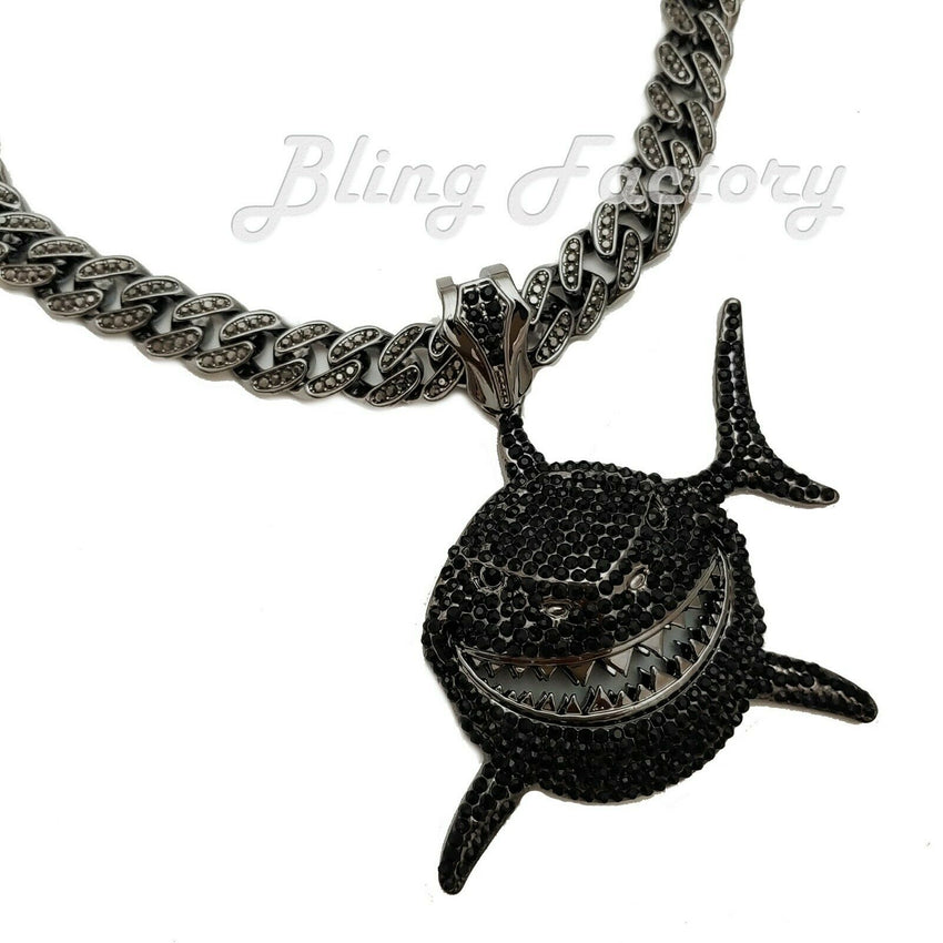 "6ix9ine Iced Black Shark Large Pendant 16"" ~ 24"" Full Iced Cuban Chain Necklace"
