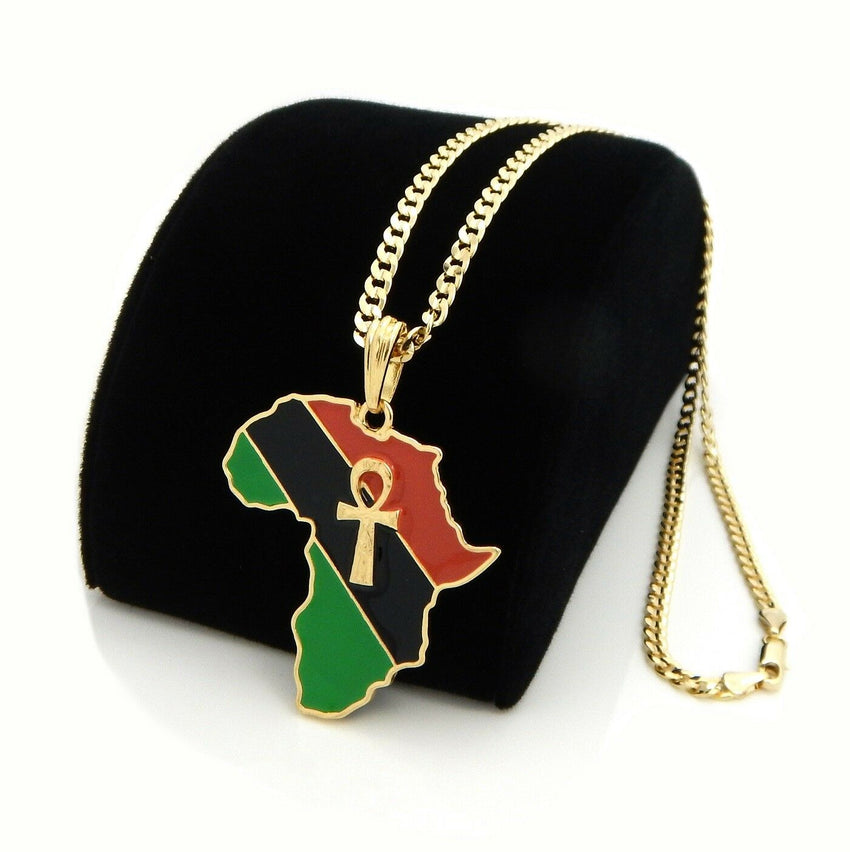 "AFRICA MAP ANKH CROSS PENDANT & 4mm 24"" CUBAN LINK CHAIN HIP HOP NECKLACE"
