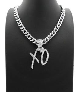 HIP HOP STYLE RAPPER'S WHITE GOLD PLATED XO GANG PENDANT & 10mm 18