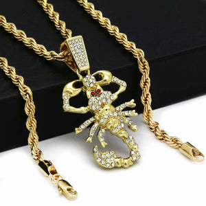 14K Gold Plated Hip Hop Scorpion Pendant & 4mm 24