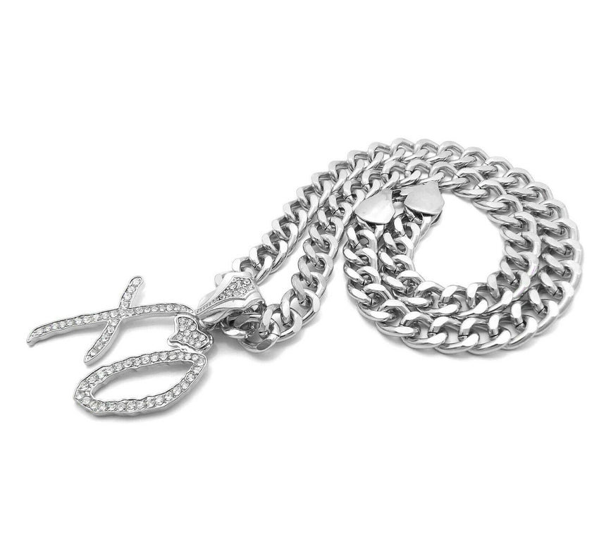 "HIP HOP STYLE RAPPER'S WHITE GOLD PLATED XO GANG PENDANT & 10mm 18"" 20"" 24"" 30"" CUBAN CHAIN NECKLACE"