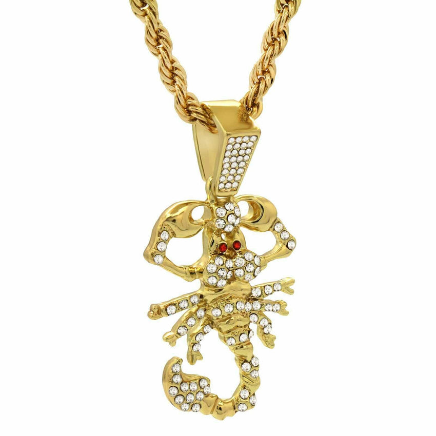 "14K Gold Plated Hip Hop Scorpion Pendant & 4mm 24"" Rope Chain Necklace"