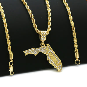 14K Gold Plated Hip Hop FLORIDA Pendant & 4mm 24