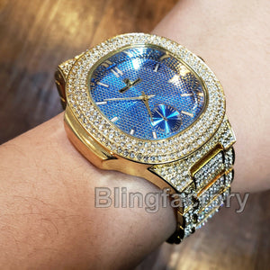 Men Luxury Designer Style Bling Blue Dial Simulated Diamond Clubbing Metal Watch