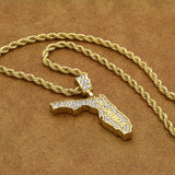 "14K Gold Plated Hip Hop FLORIDA Pendant & 4mm 24"" Rope Chain Necklace"