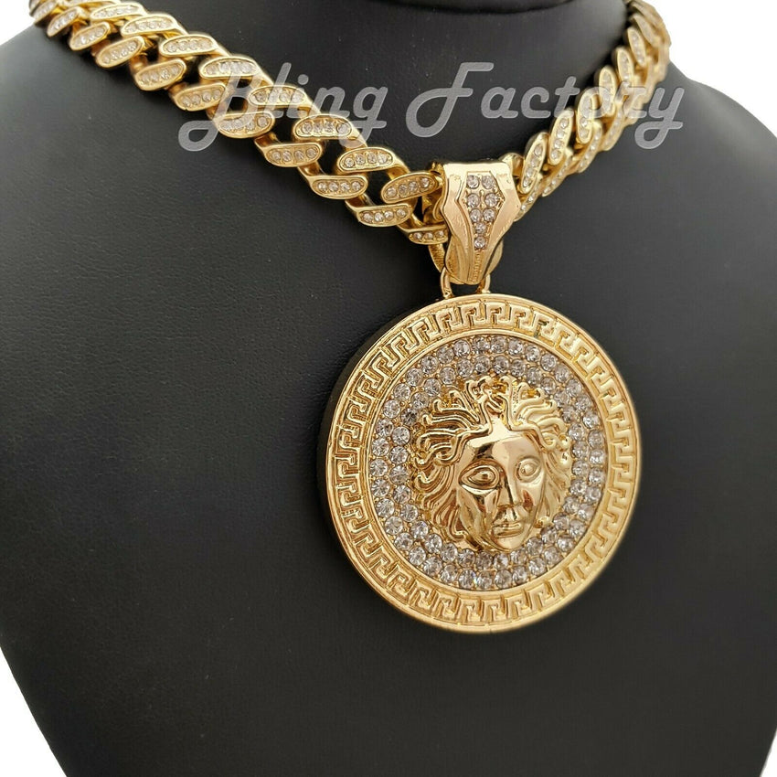 "Hip Hop Gold PT Medusa Head Pendant & 12mm 16"" 18"" 20"" 24"" Full Iced Cuban Chain Necklace"