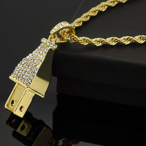 HIP HOP ICED LAB DIAMOND GOLD PT BLING POWER PLUG PENDANT & 24