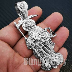 HIP HOP WHITE GOLD PLATED FASHION LAB DIAMOND SAINT DEATH SANTA MUERTE CHARM PENDANT