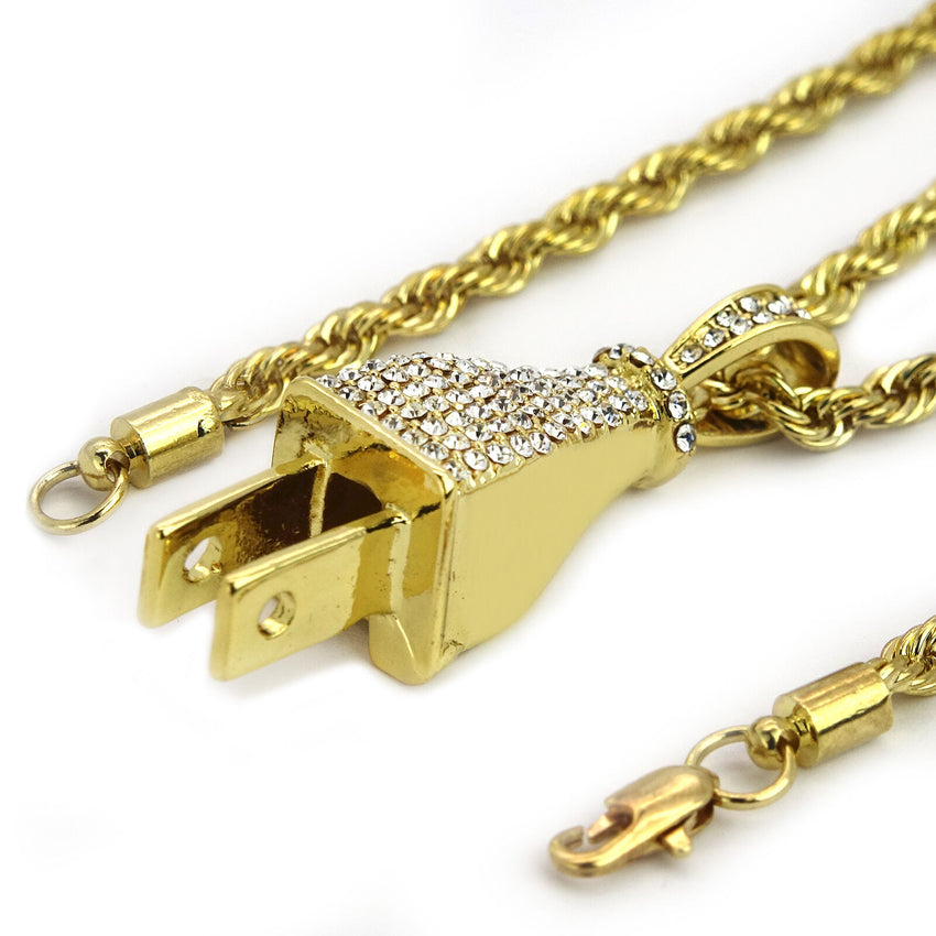 "HIP HOP ICED LAB DIAMOND GOLD PT BLING POWER PLUG PENDANT & 24"" ROPE CHAIN NECKLACE"