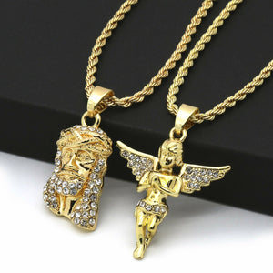 14K Gold Plated Hip Hop Jesus & Angel Pendant w/ 2mm 24