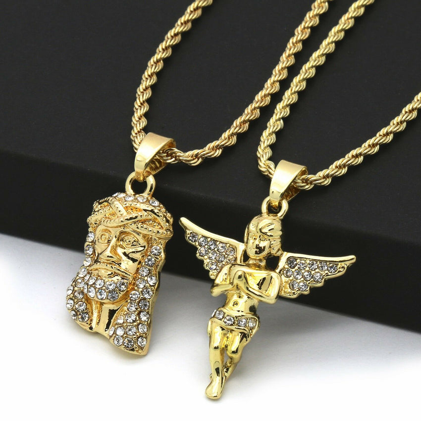 "14K Gold Plated Hip Hop Jesus & Angel Pendant w/ 2mm 24"" & 30"" Rope Chain Necklace Set"