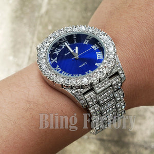 Hip Hop Iced out Blue Dial White Gold PT Migos Bling BIG Simulated Diamond Watch