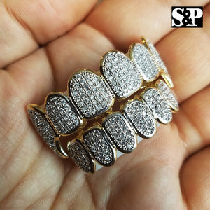 Hip Hop Brass Gold Plated High Quality Pave Teeth Feng Grillz Top & Bottom Set