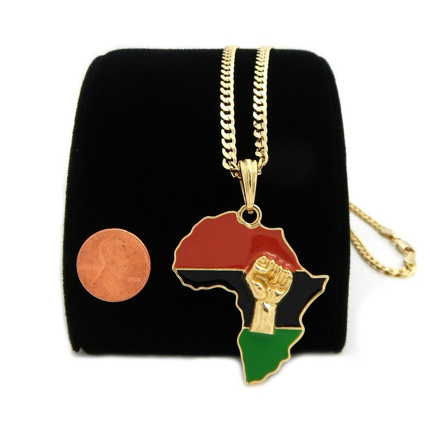 "AFRICA MAP FIST PENDANT & 4mm 24"" CUBAN LINK CHAIN HIP HOP NECKLACE"