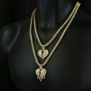 Gold PT Hip Hop Broken Heart Pendant & 1 Row Lab Diamond 18