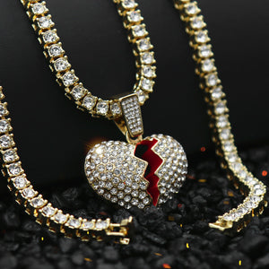 14k Gold Plated Hip Hop Red BROKEN HEART Pendant & 4mm 18