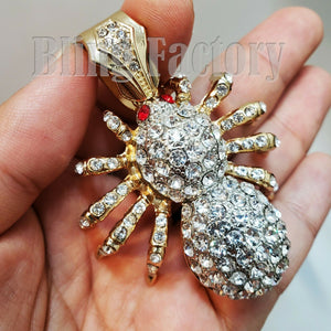 HIP HOP ICED OUT GOLD PLATED LAB DIAMOND RAPPER'S BLING LARGE SPIDER CHARM PENDANT