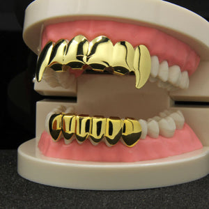 14K Gold Plated Hip Hop Teeth Grillz Caps Top & Bottom Grill Fang Set