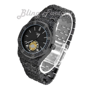 Men's Black Iced Luxury Designer Style Rapper's Metal Band Clubbing Wrist Watch