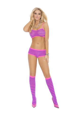 3 Piece Booty Shorts Set - One Size - Neon Pink/neon Purple - KG