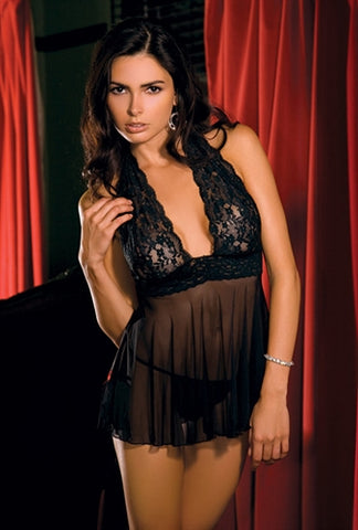 2-Piece Lace and Mesh Halter Babydoll and G-String Set - KG