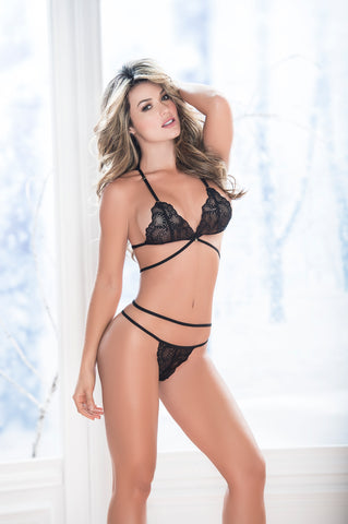 Strappy Triangle Bra and Panty Set - KG