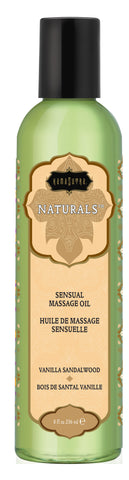 Naturals Massage Oil - Vanilla Sandalwood  8 Fl. Oz. - Kissy Games