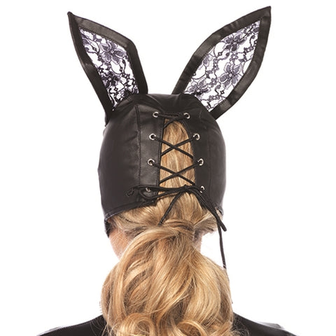 Faux Leather Bunny Mask With Lace Ears - Black - KG
