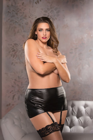 Classic Garter Skirt - Black - One Size Plus Size - KG