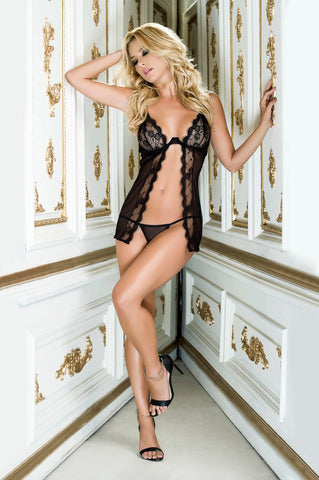 Lace Open Front Babydoll With Matching G-String - KG