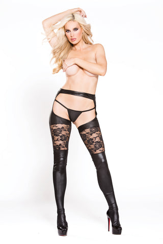 Kitten Lace & Wet Look Garter Tights W/g-String -  One Size - KG