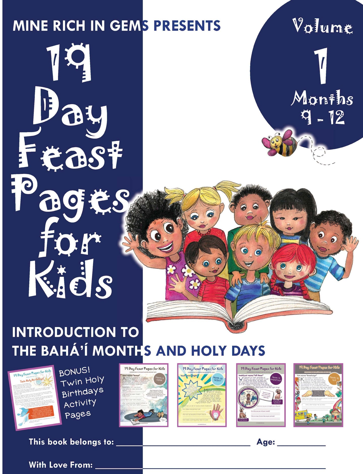 19 Day Feast Pages for Kids: Vol 1 Bahá'í Months & Holy Days | Months 9-12 | PRINTED BUNDLE 3