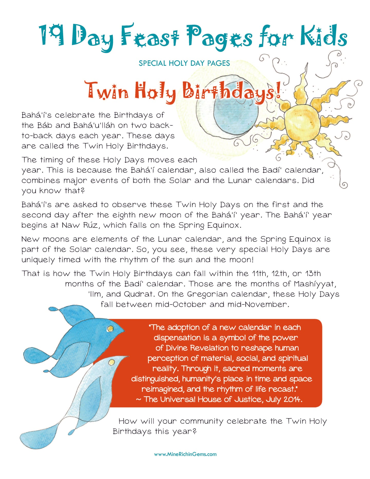 Twin Holy Birthdays Mini-Book