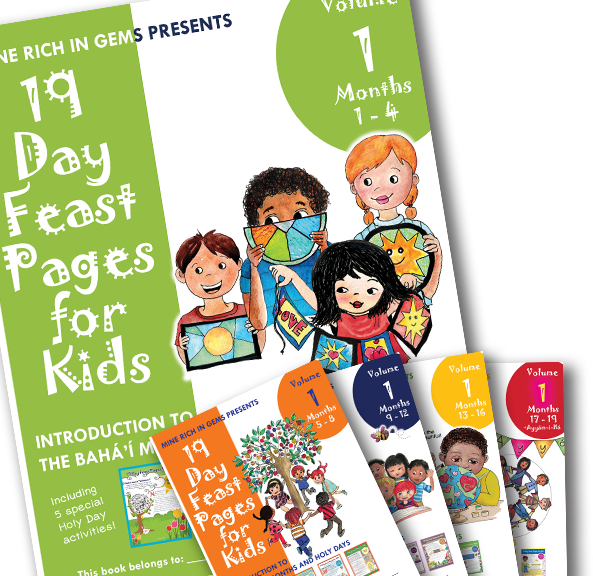 VOL 1 | 19 Day Feast Pages for Kids | Vol 1 Bahá'í Months & Holy Days | Full Year Months 1-19 + Ayyám-i-Há | SET OF 5 PRINTED WORKBOOKS
