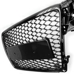 Audi A4 B8 2008-2012 RS4 Style Honeycomb Mesh Gloss Black Front Bumper Grille