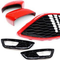 Ford Focus mk3 Black Edition Front Grilles & Red Mirror Covers