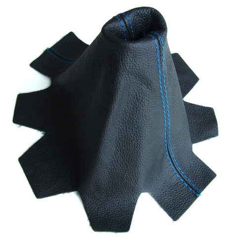 VW Transporter T5 Leather Gear Gaiter Black with Blue Stitching