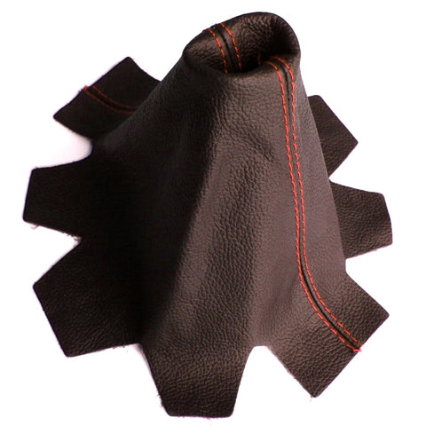 VW Transporter T5 Leather Gear Gaiter Black with Red Stitching